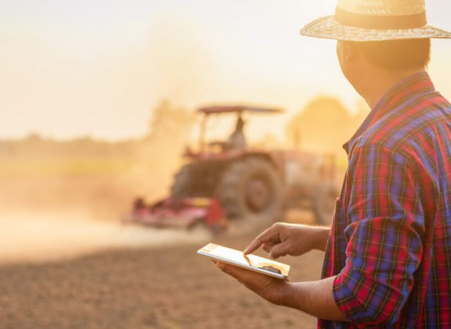 Asian young farmer working and holding tablet in the empty land. Prepare the soil and planning to planting concept. Shot in sunset time